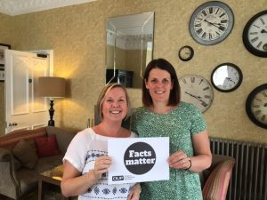 Lisa Jeskins and Claire Bradshaw support the Facts Matter campaign