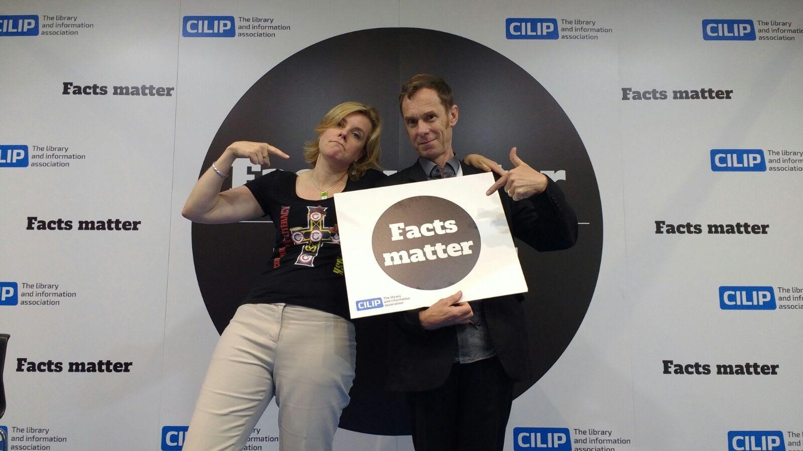 Jane Secker and ILG member Charlie Inskip take a stand for #FactsMatter