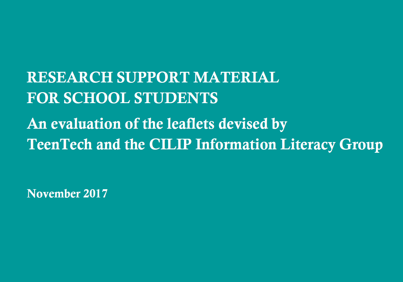 Evaluation report on resource sheets for schools