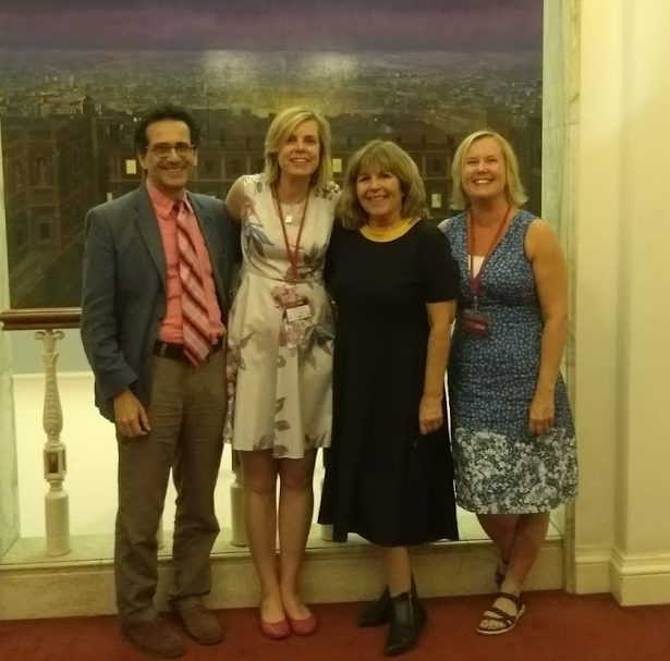 Jane Secker, Lisa Jeskins and Stéphane Goldstein with Maggie Philbin at the TeenTech Awards 2018
