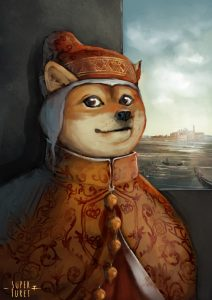 Dog dressed as Doge of Venice