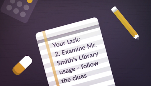 Screenshot from L3 Mystery In The Library introduction video