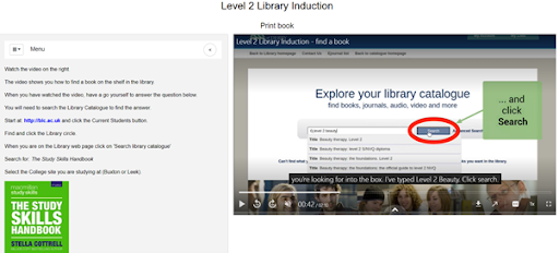 Screenshot of the Level 2 Library Induction LibWizard tutorial
