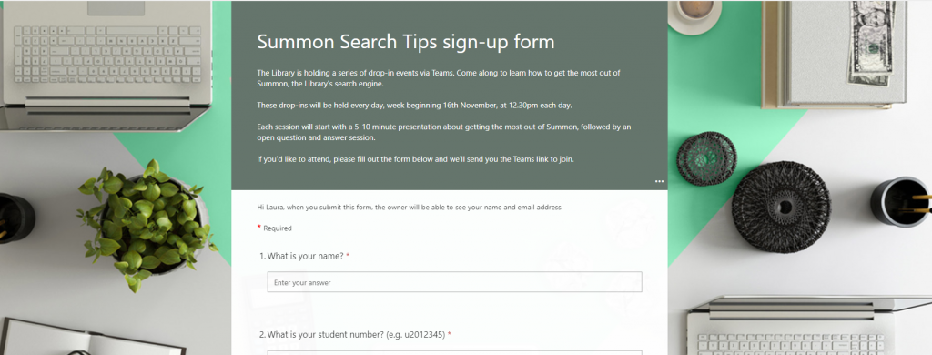 Screenshot of the form students used to register for the drop-ins.