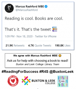 """Tweet from Marcus Rashford """"Reading is cool. Books are cool. That's it. That's the tweet."""""""